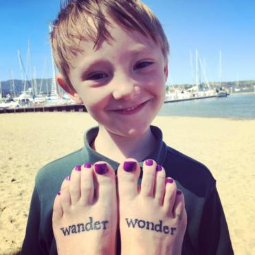 Alex photo-bombs my feet in Sausalito.